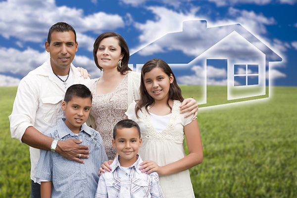 Family standing next to imaginary home
