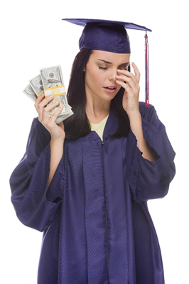 Graduate looking at money